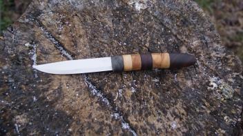 Mora in Hhandle Box elder burl, olivewood, wenge, walnut